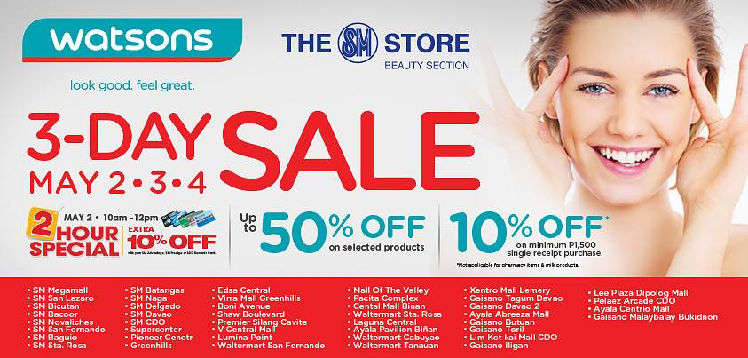 Watsons 3-Day Sale May 2014