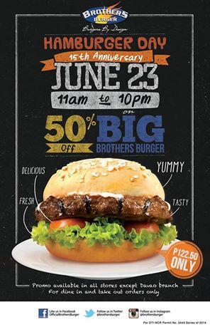 Brothers Burger Hamburger Day June 2014