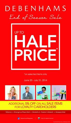 Debenhams End of Season Sale June - July 2014