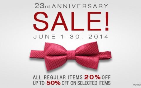 Onesimus Anniversary Sale June 2014
