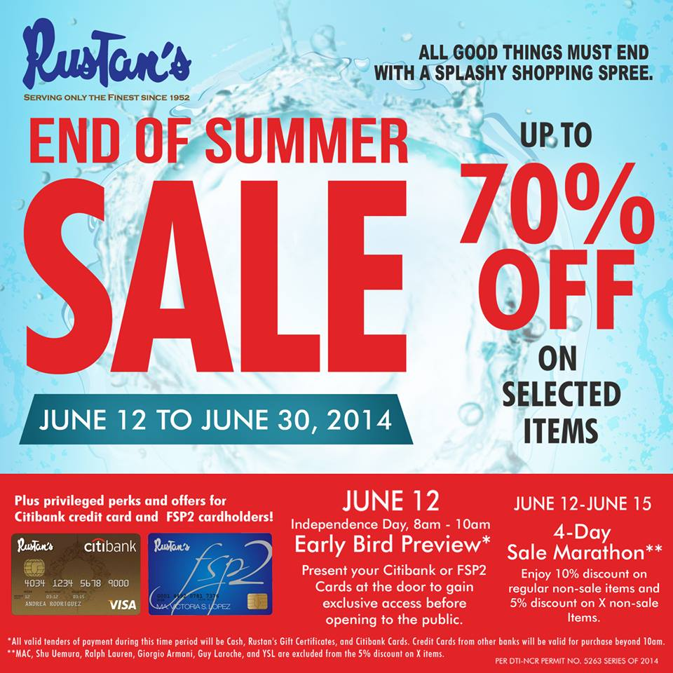 Rustan's End of Summer Season Sale June 2014