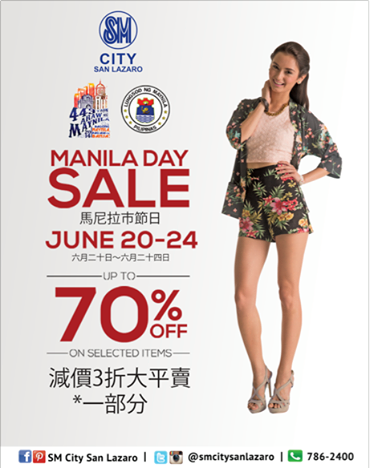 SM City San Lazaro Manila Day Sale June 2014