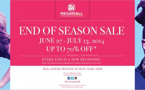 SM Megamall End of Season Sale June - July 2014