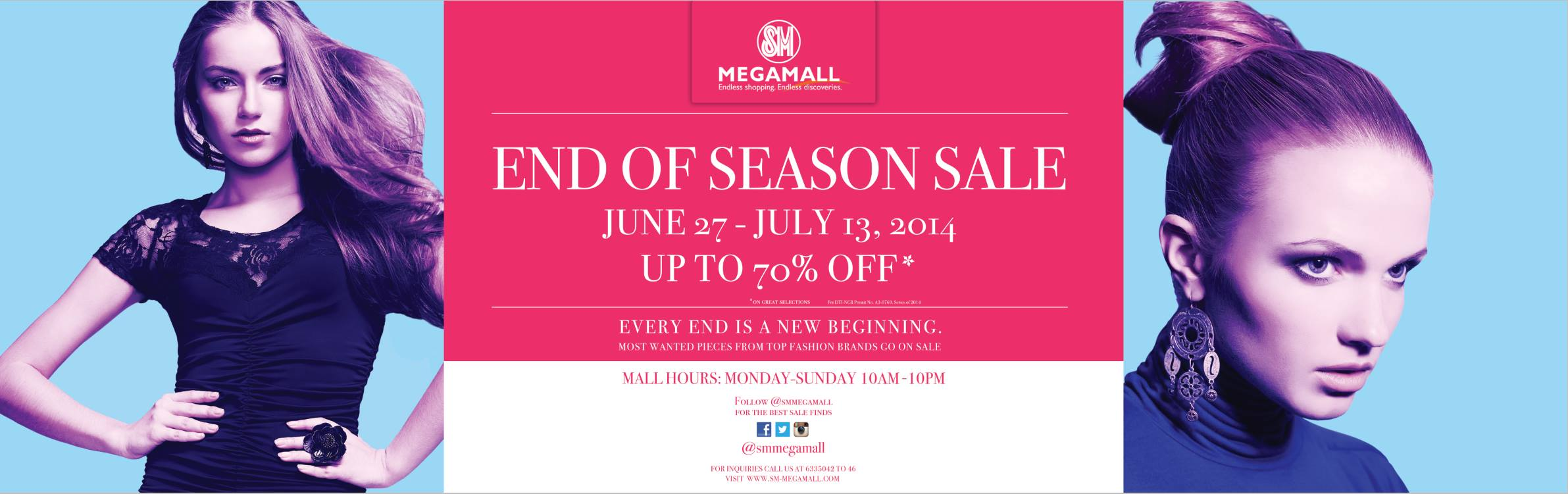 SM Megamall End of Season Sale June - July 2014