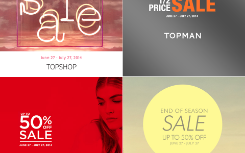 Topshop, Topman, Dorothy Perkins, Warehouse End of Season Sale June - July 2014