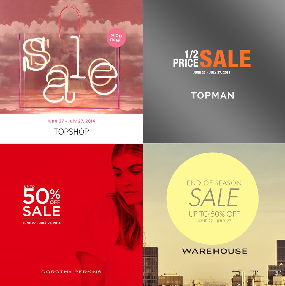 Topshop, Topman, Dorothy Perkins, Warehouse End of Season Sale June - July 2014
