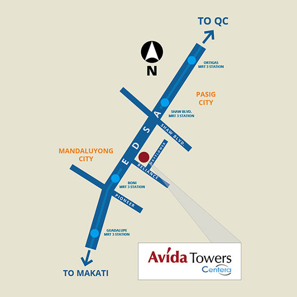 Avida Towers Centera location map