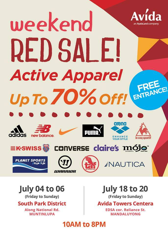 Avida Weekend Red Sale on Active Apparel July 2014
