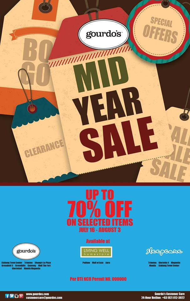 Gourdo's, Sleepcare, Living Well Mid-Year Sale July - August 2014