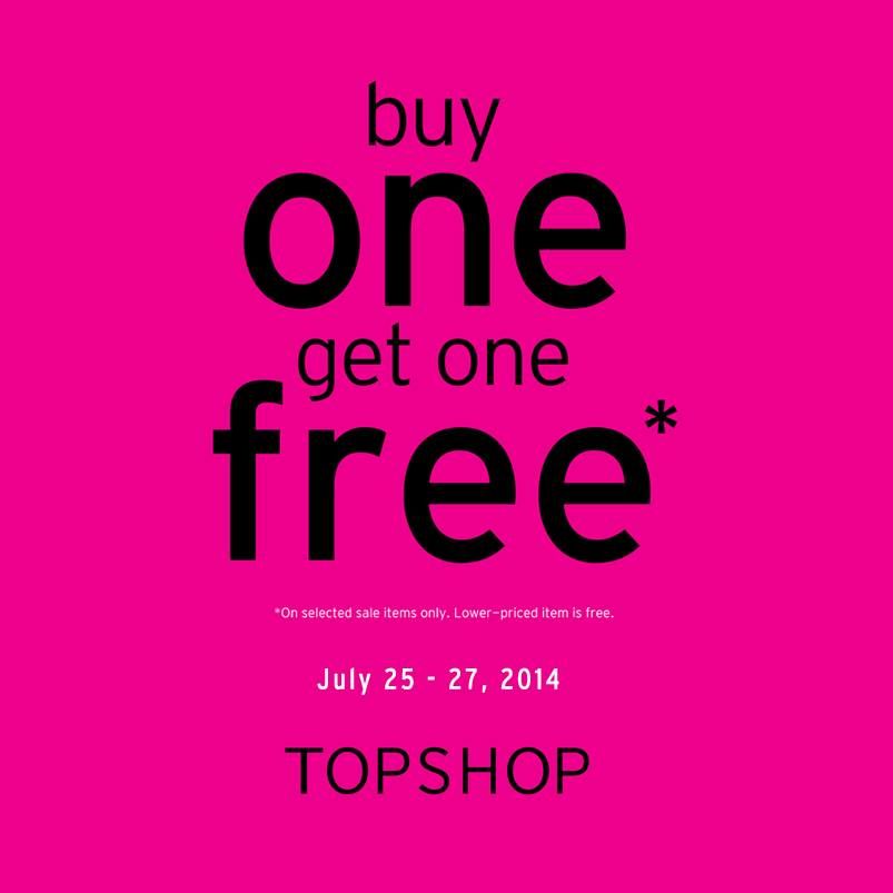 Topshop Buy 1 Get 1 Free Promo July 2014