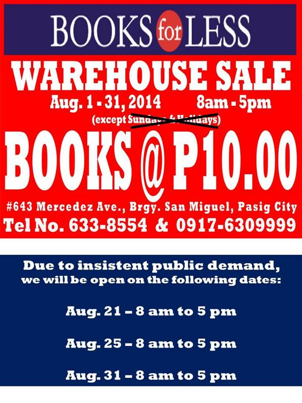 Books For Less Warehouse Sale August 2014