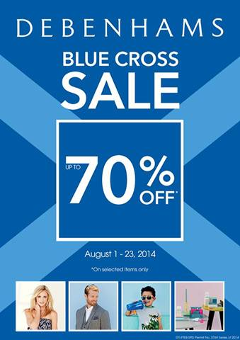 Debenhams Blue Cross Sale August 2014