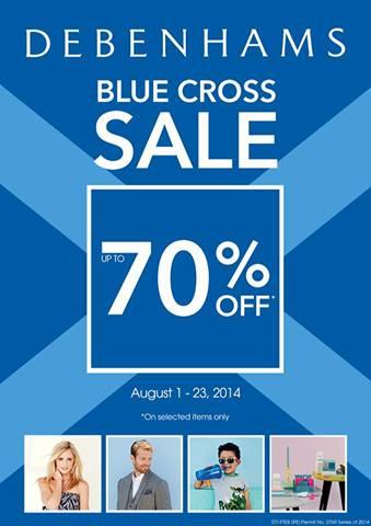 Debenhams Blue Cross Sale August 2014