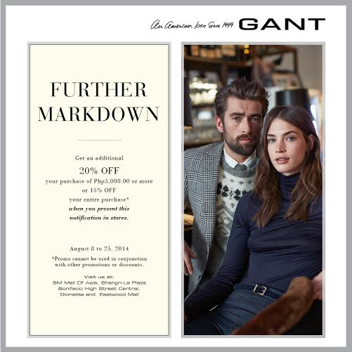 Gant Further Markdown Sale August 2014
