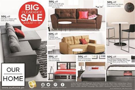 Our home big clearance sale august 2014 manila on sale Our home furniture prices philippines