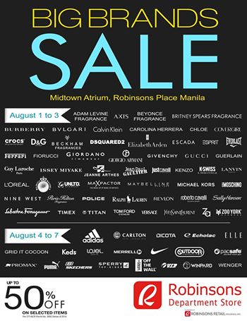 Robinsons Department Store Big Brands Sale @ Robinsons Place Manila August 2014