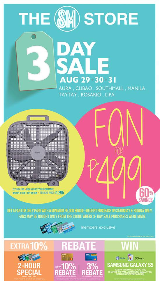 The SM Store 3-Day Sale August 2014