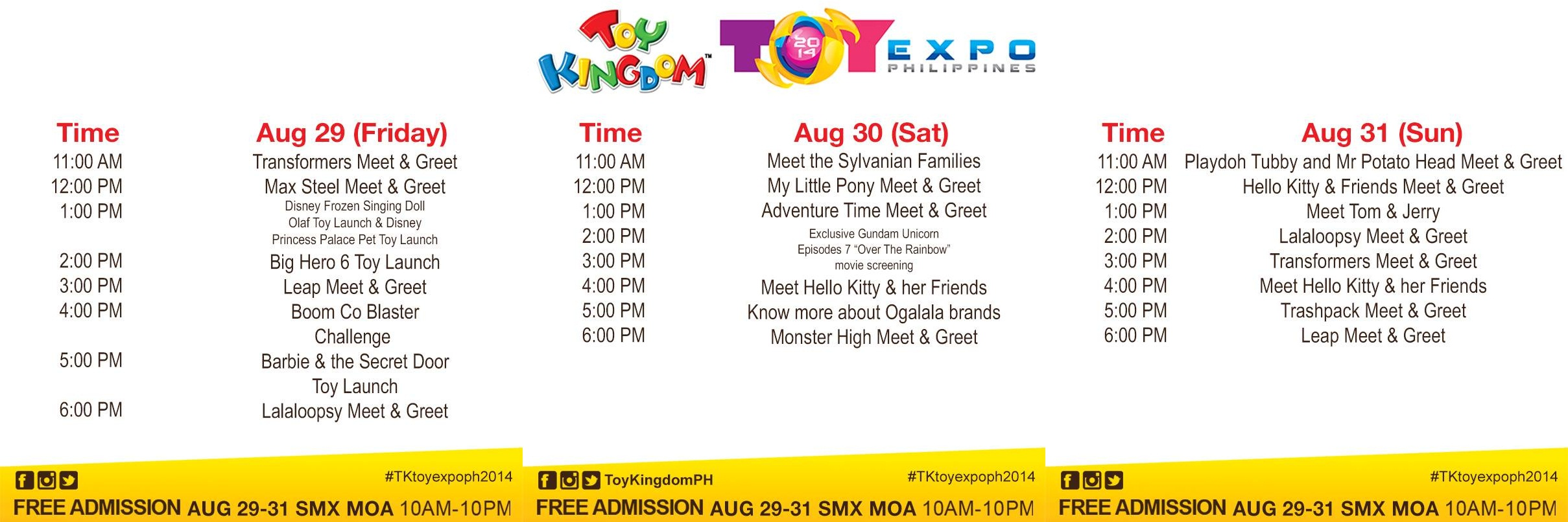 Toy Kingdom Toy Expo Schedule of Activities August 2014