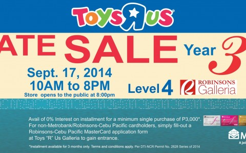 Toys R Us Private Sale @ Robinsons Galleria September 2014