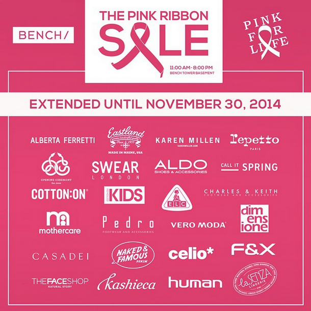 Bench The Pink Ribbon Sale @ Bench Tower October - November 2014