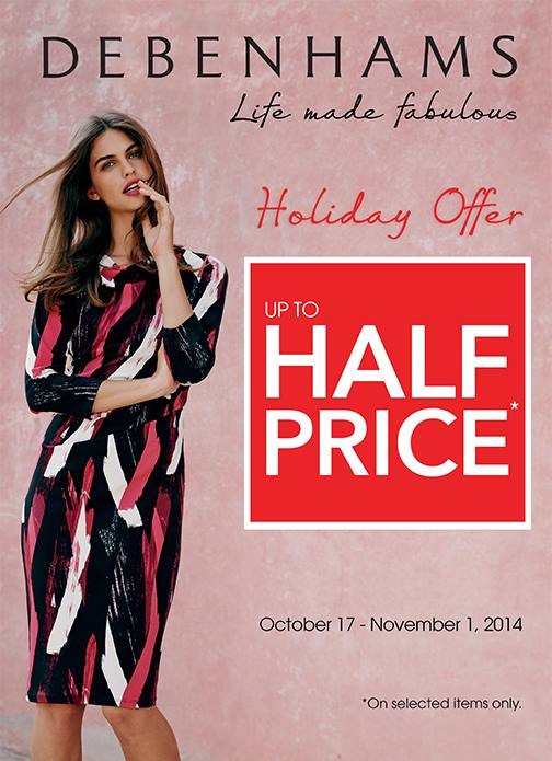 Debenhams Holiday Offer Sale October - November 2014