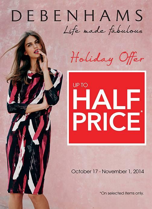 Debenhams Holiday Offer Sale October - November 2014