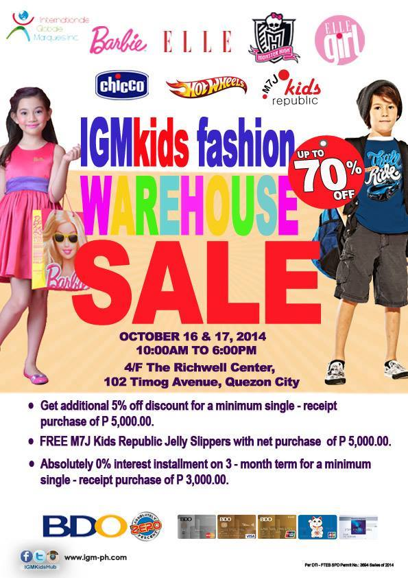 IGM Kids Fashion Warehouse Sale @ The Richwell Center October 2014