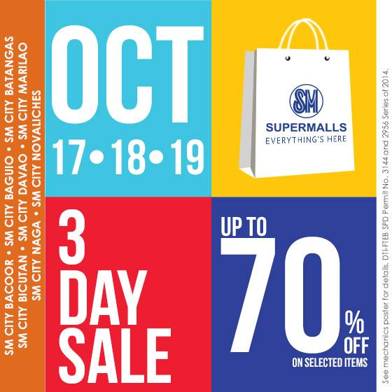 SM Supermalls 3-Day Sale October 2014