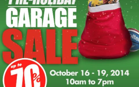 Tobys Sports Pre-Holiday Garage Sale @ Quorum Center October 2014