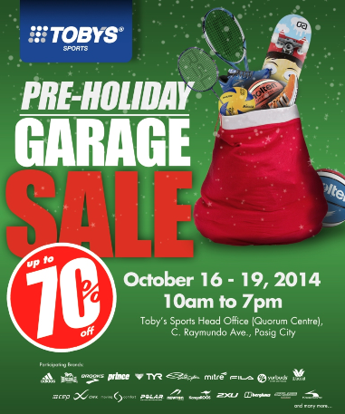 Tobys Sports Pre-Holiday Garage Sale @ Quorum Center October 2014