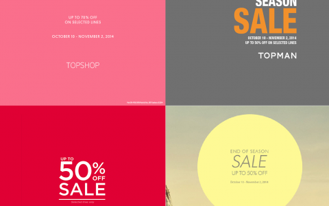 Topshop, Topman, Dorothy Perkins, Warehouse Mid-Season Sale October - November 2014