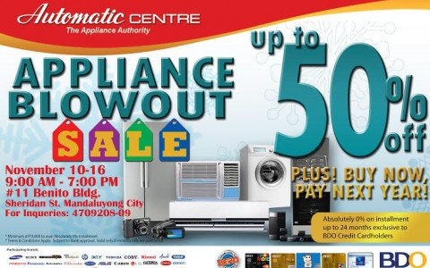 Automatic Center Appliance Blowout Sale November 2014