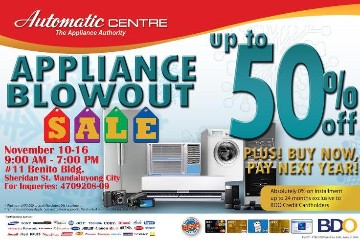Automatic Center Appliance Blowout Sale November 2014