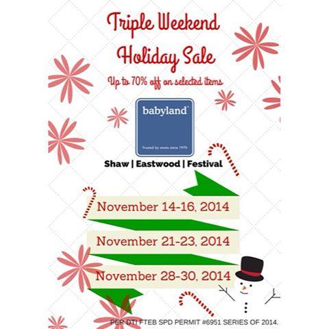 Babyland Triple Weekend Holiday Sale November 2014