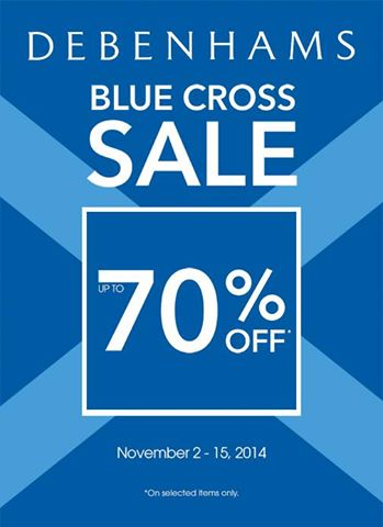 Debenhams Blue Cross Sale November 2014