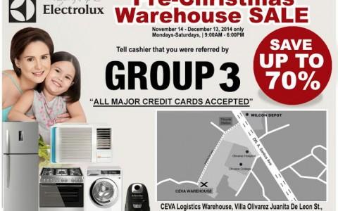 Electrolux Pre-Christmas Warehouse Sale November - December 2014