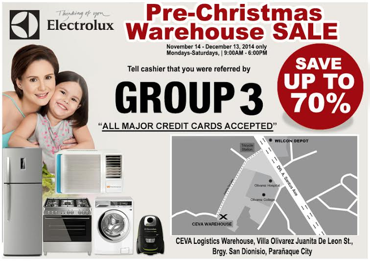 Electrolux Pre-Christmas Warehouse Sale November - December 2014