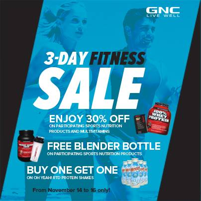 GNC 3-Day Fitness Sale November 2014