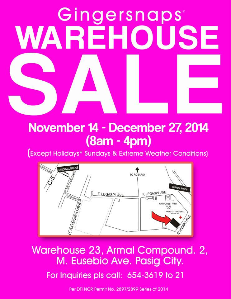 Gingersnaps & Just G Warehouse Sale November - December 2014