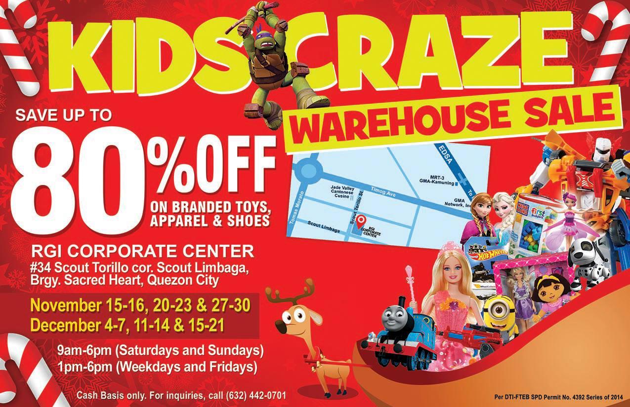 46e36e018192 Kids Craze Warehouse Sale   RGI Corporate Center November - December 2014