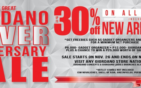 The Great Giordano Silver Anniversary Sale November 2014