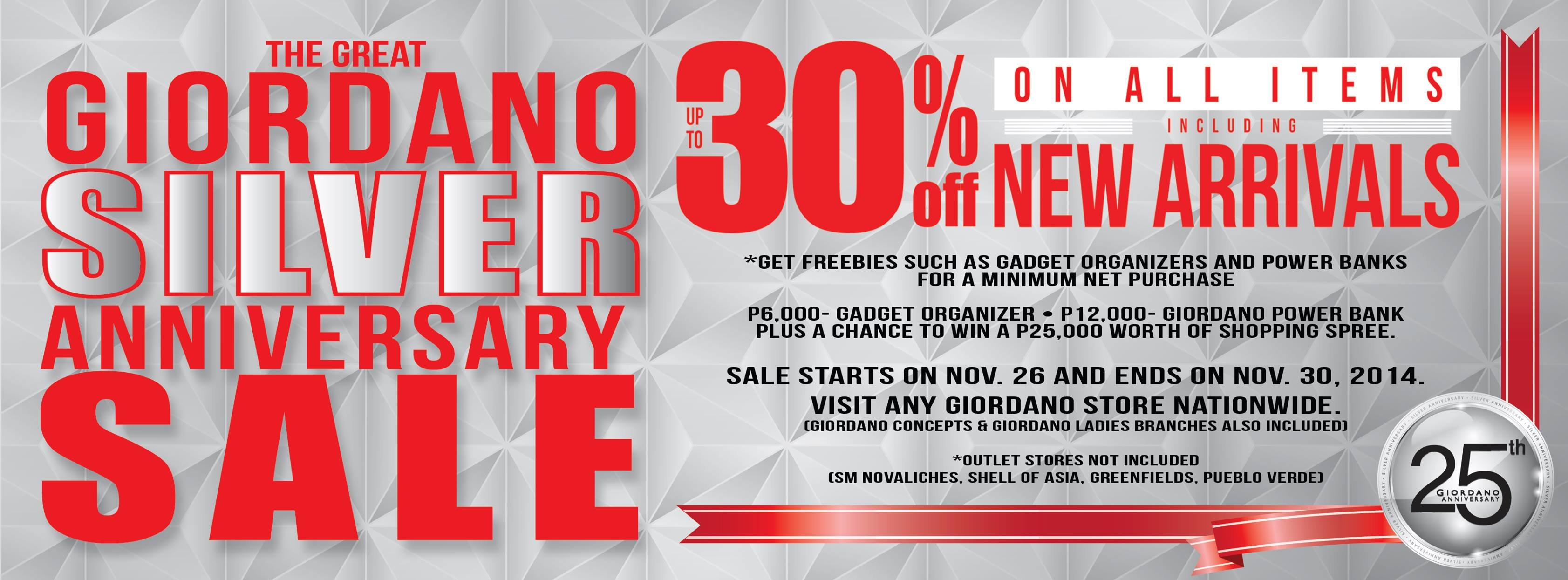 The Great Giordano Silver Anniversary Sale November 2014