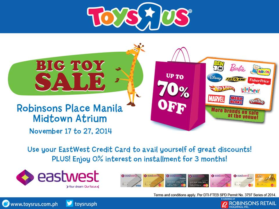 Toys R Us Big Toy Sale @ Robinsons Place Manila November 2014