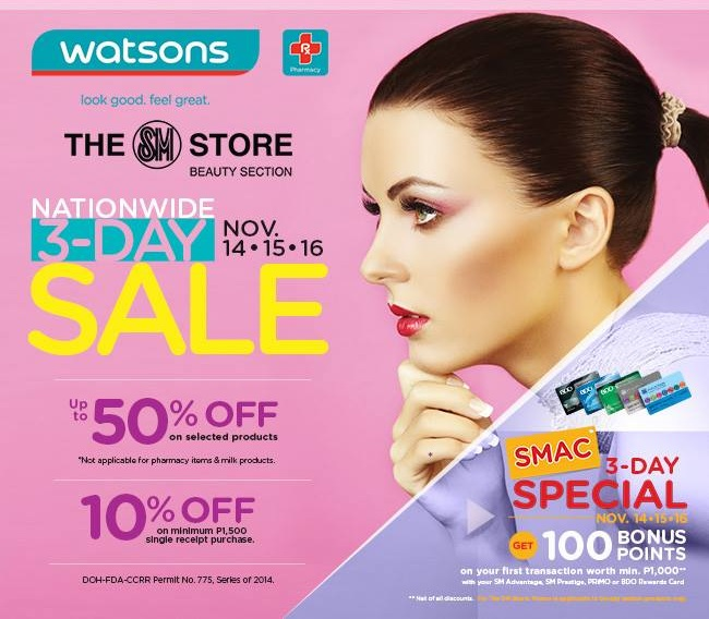 Watsons Nationwide 3-Day Sale November 2014
