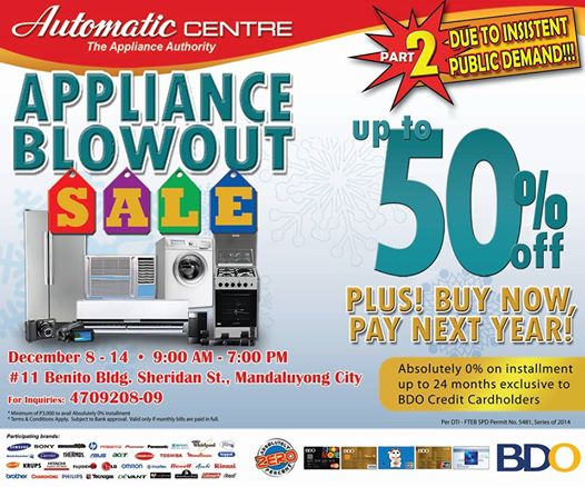 Automatic Centre Appliance Blowout Sale @ Benito Building December 2014