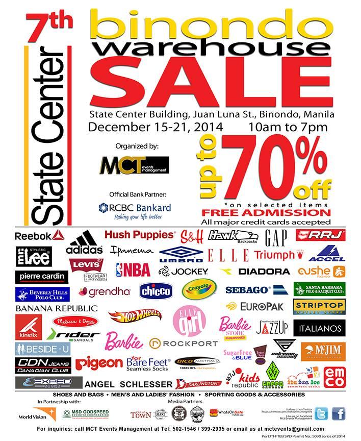 Binondo Warehouse Sale @ State Center Investment Building December 2014