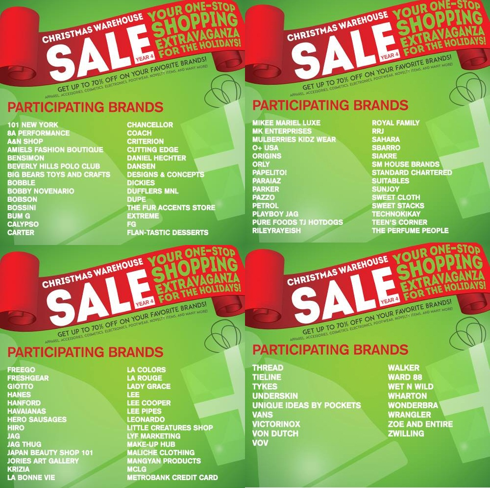 Christmas Warehouse Sale @ SMX Convention Center Participating Brands