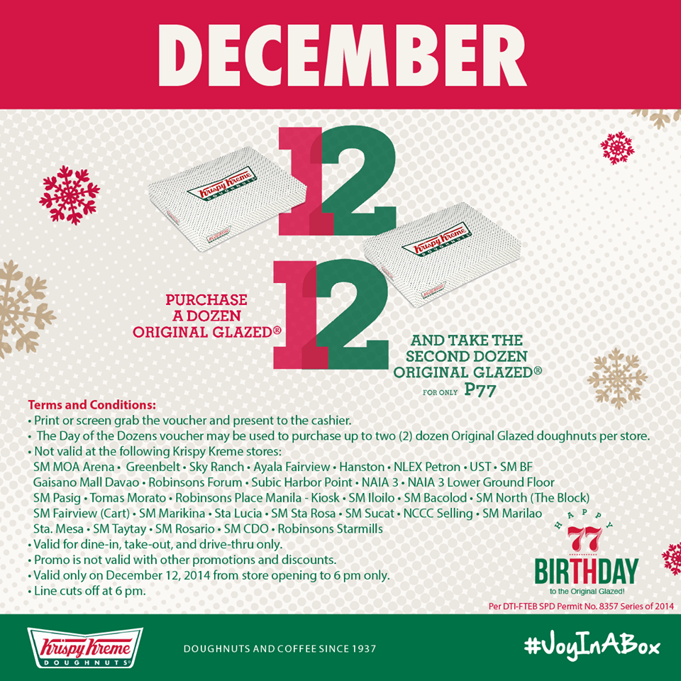 Krispy Kreme Day of the Dozens December 2014 | Manila On Sale