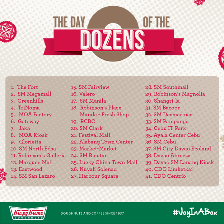 Krispy Kreme Day of the Dozens Participating Stores December 2014