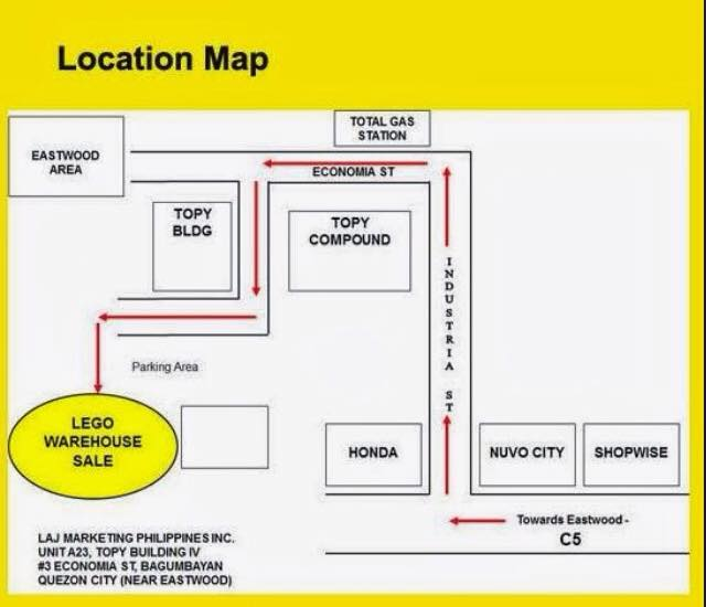Lego Warehouse Sale location map